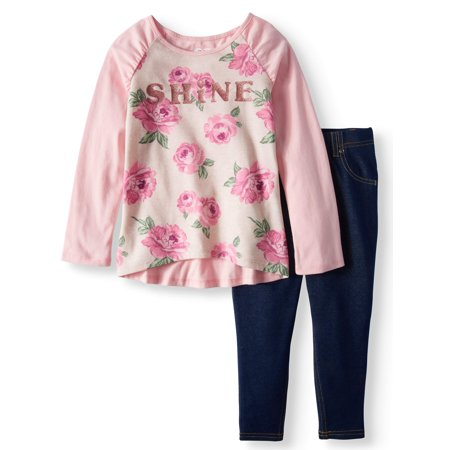Girls' Long Sleeve Print Raglan Tee & Knit Denim Jeggings, 2pc Outfit Set - Greaser Outfits For Girls