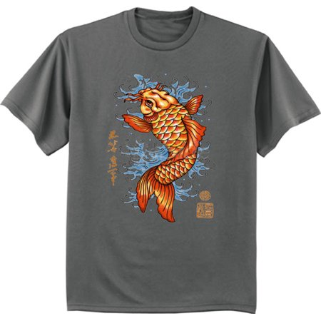 Japanese koi fish decal t-shirt Big and Tall tee for men