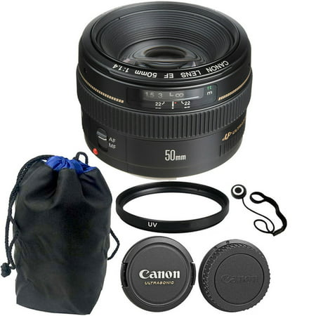 Canon EF 50mm f/1.4 USM Autofocus Lens + Accessory Bundle for Canon SLR
