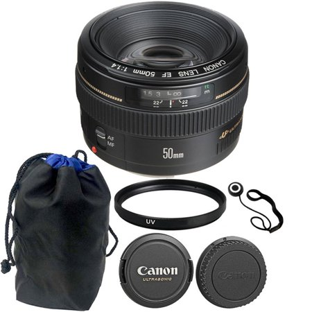 Canon EF 50mm f/1.4 USM Autofocus Lens + Accessory Bundle for Canon SLR