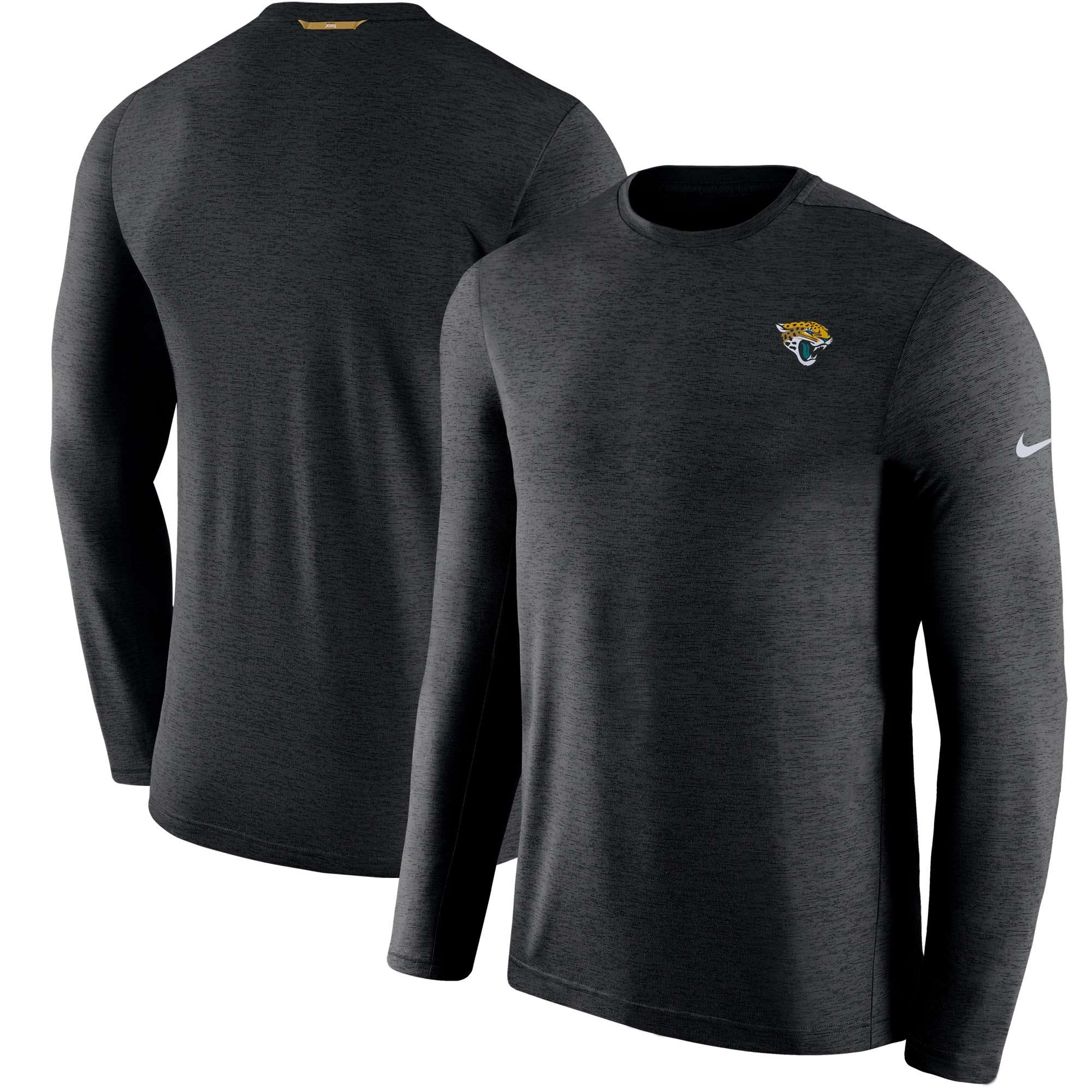Jacksonville Jaguars Nike Sideline Coaches Primary Logo Long Sleeve Performance T-Shirt - Black