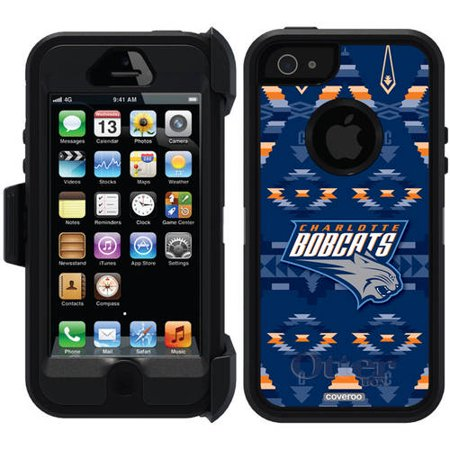 Charlotte Bobcats Tribal Print Design on OtterBox Defender Series Case for Apple iPhone 5 5s by