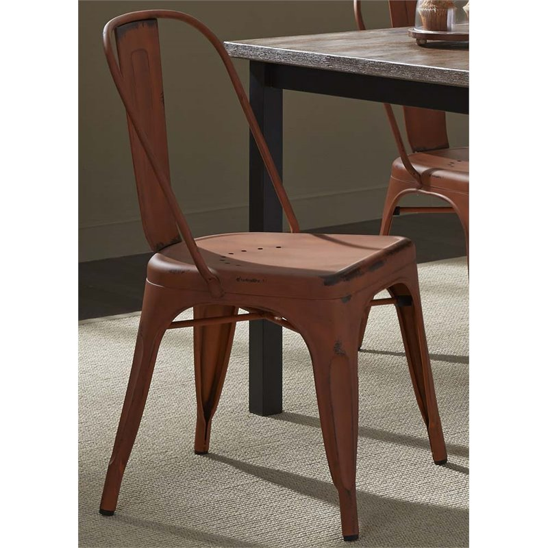 Liberty Furniture Vintage Metal Bow Back Dining Side Chair in Orange