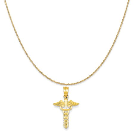 14k Yellow Gold Caduceus Medical Pendant on a 14K Yellow Gold Rope Chain Necklace, 20