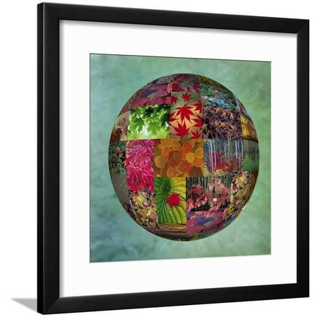 Photoshop designed photographs in globe Framed Print Wall Art By Darrell Gulin