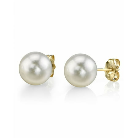 18K Gold 6.0-6.5mm White Akoya Cultured Pearl Stud Earrings - AAA Quality