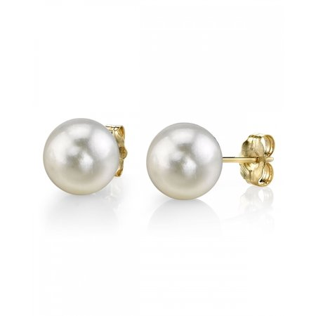 14K Gold 6.5-7.0mm White Akoya Cultured Pearl Stud Earrings - AAA Quality