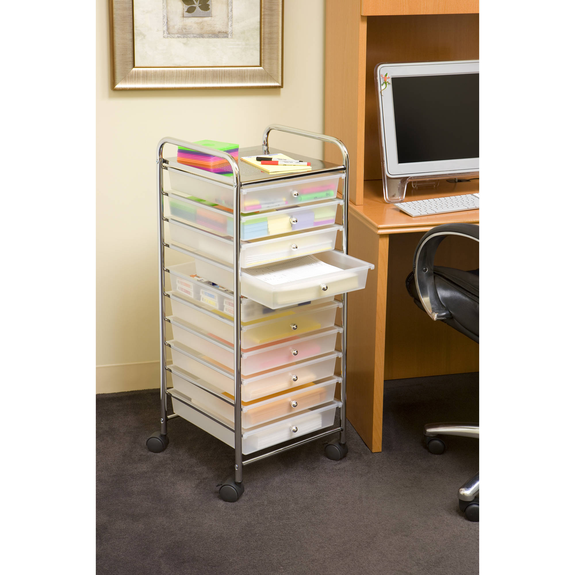 Large 10 Drawer Organizer Cart, Frosted White By Seville Classics    Walmart.com