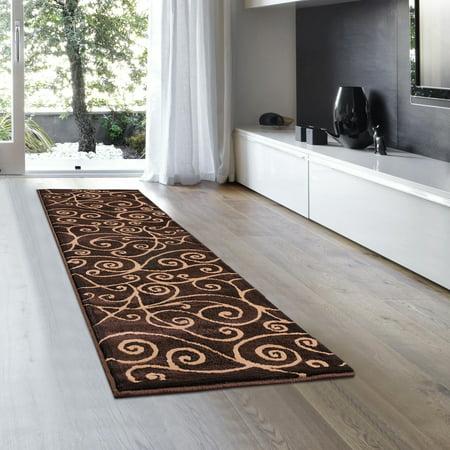 Allstar Brown Abstract Modern Area Carpet Rug - Runner (2' 0