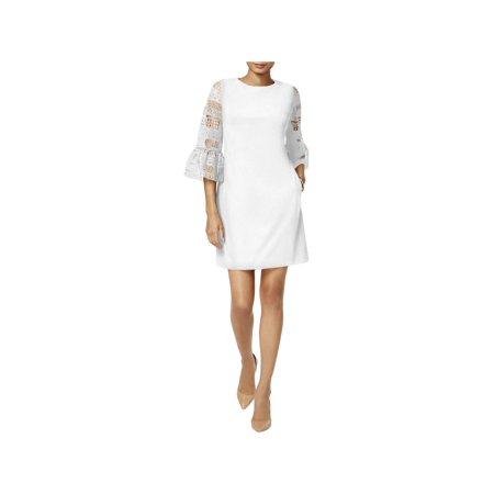 Donna Ricco Womens Lace Trim Sheath Cocktail Dress