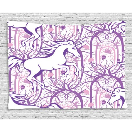 Unicorn Home and Kids Decor Tapestry, Unicorn Galloping on Curved Swirled Tree Branches in Forest Design, Wall Hanging for Bedroom Living Room Dorm Decor, 80W X 60L Inches, Purple, by Ambesonne