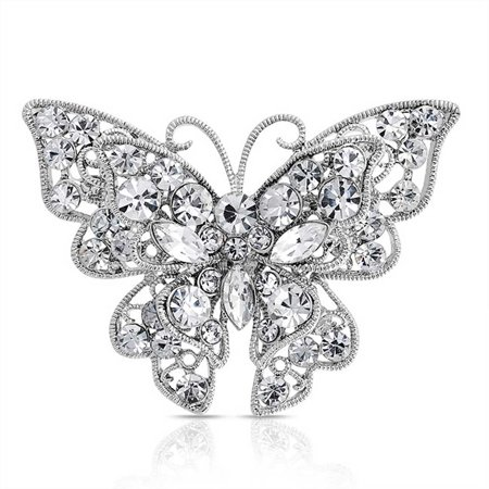 Large Crystal Filigree Fashion Statement Butterfly Brooch Pin For Women Sliver Plated Brass Butterfly Ruby Brooch