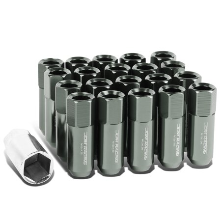 20-Piece M12 x 1.5 Aluminum Alloy Wheel Lug Nuts+Adapter Key (Gun Mental)
