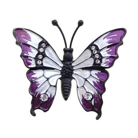 Purple Painted Butterfly Clear Crystal Rhinestone Pin Fashionable Jewelry (Sterling Butterfly Pin)
