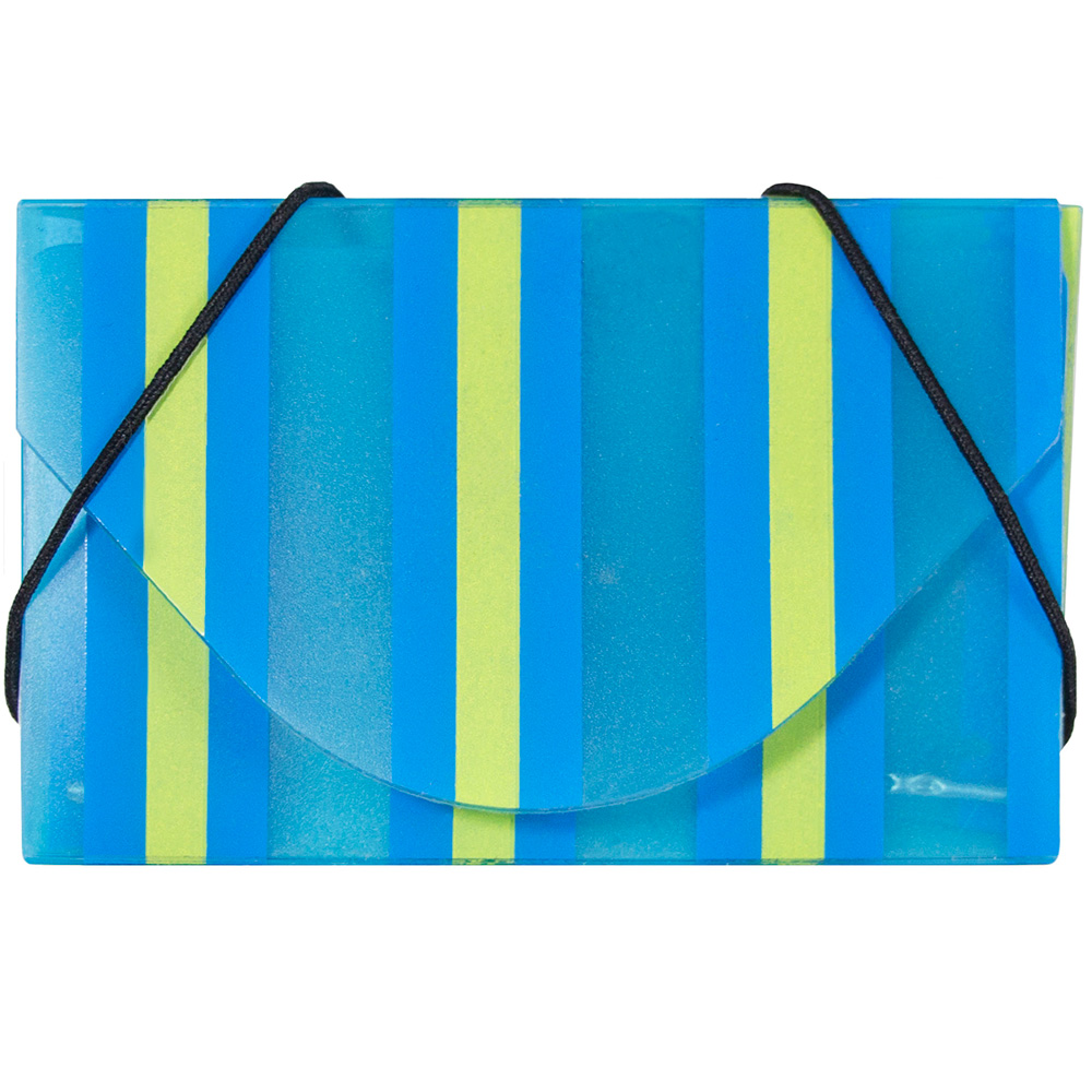 JAM Paper Striped Business Card Case with Elastic Closure, Blue, Sold Individually