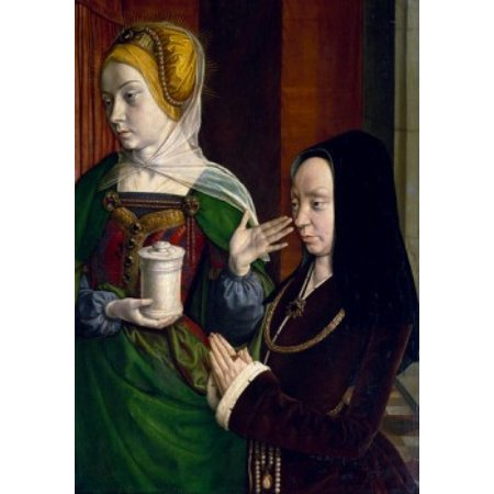 Portrait of Madeleine of Burgundy with Saint Mary Magdalene by Jean Hey  oil on wood  Circa 1490-1495  (1480-1500)  France  Paris  Musee du Louvre Canvas Art - Jean Hey (18 x 24)