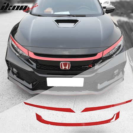 - Ikon Motorsports Grille - Fits 16-18 Honda Civic Style Red Grille Trim 3Pc - ABS