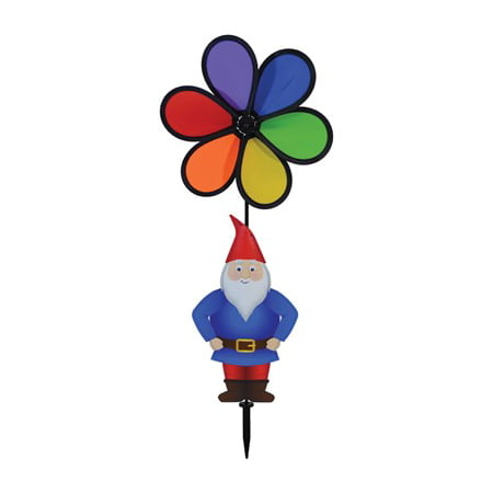 In the Breeze Gnome with 10 Inch Rainbow Flower Spinner - Wind Spinner for your Yard or Garden - Rainbow Wind Spinners