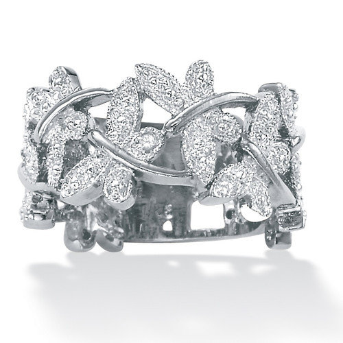 Palm Beach Jewelry Platinum Diamond Butterfly Band