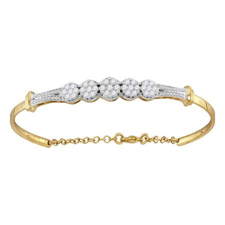 White Gold Round Diamond Bangle (10kt Yellow Gold Womens Round Diamond Cluster Promise Bangle Bracelet 1.00 Cttw)