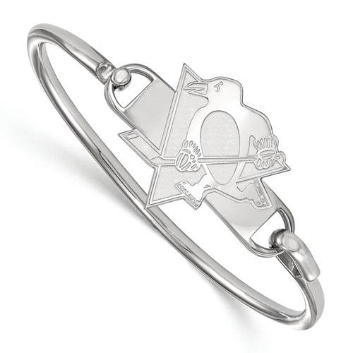 LogoArt NHL Pittsburgh Penguins Sterling Silver Bangle Bracelet