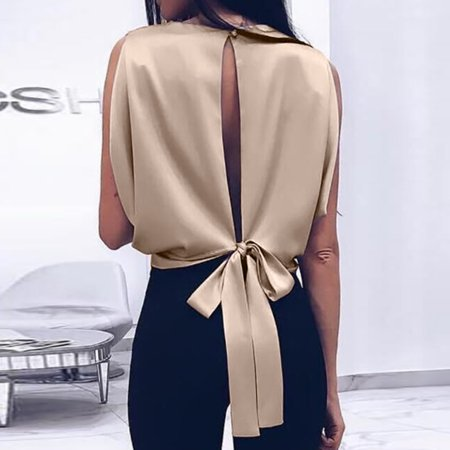 Sexy Women Backless Bow Bandage Sleeveless Casual Tank Top Blouse Tops