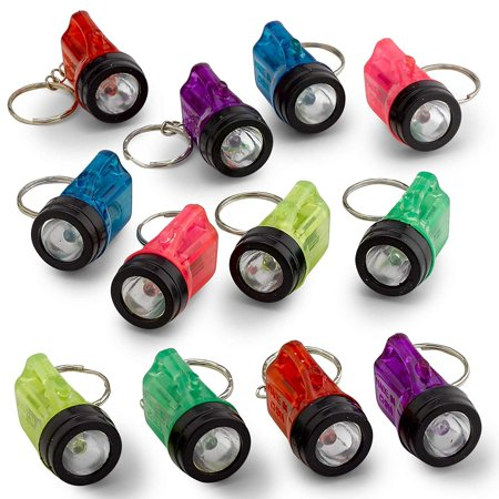 """Flashlight Keychains 1.5"""" - 12 Pieces Assorted Color Mini Plastic Pocket Torch - Key Ring Light for Bag and Belt Loop Accessory, Party Gifts and Events Giveaways"""