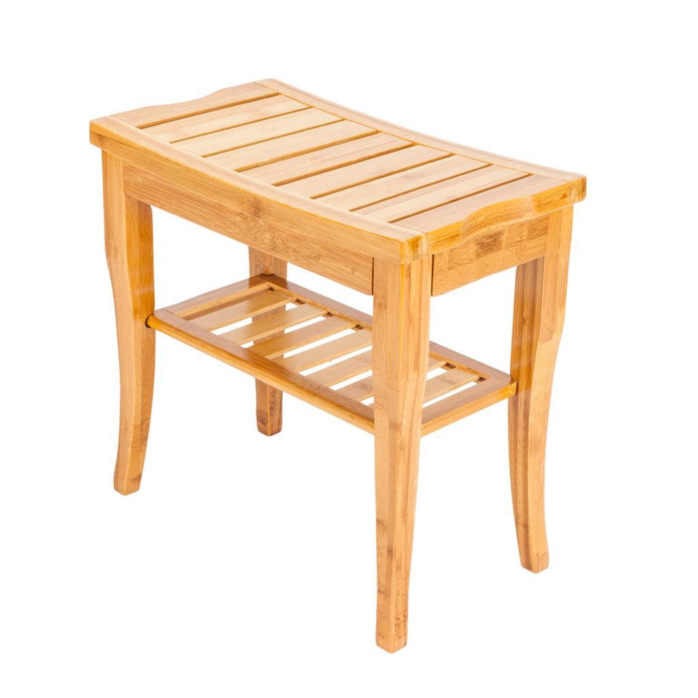 Bamboo Bath Stool Shower Seat Bench Bathroom Spa Chairs Bath Organizer  Storage Rack Stool - Walmart.com