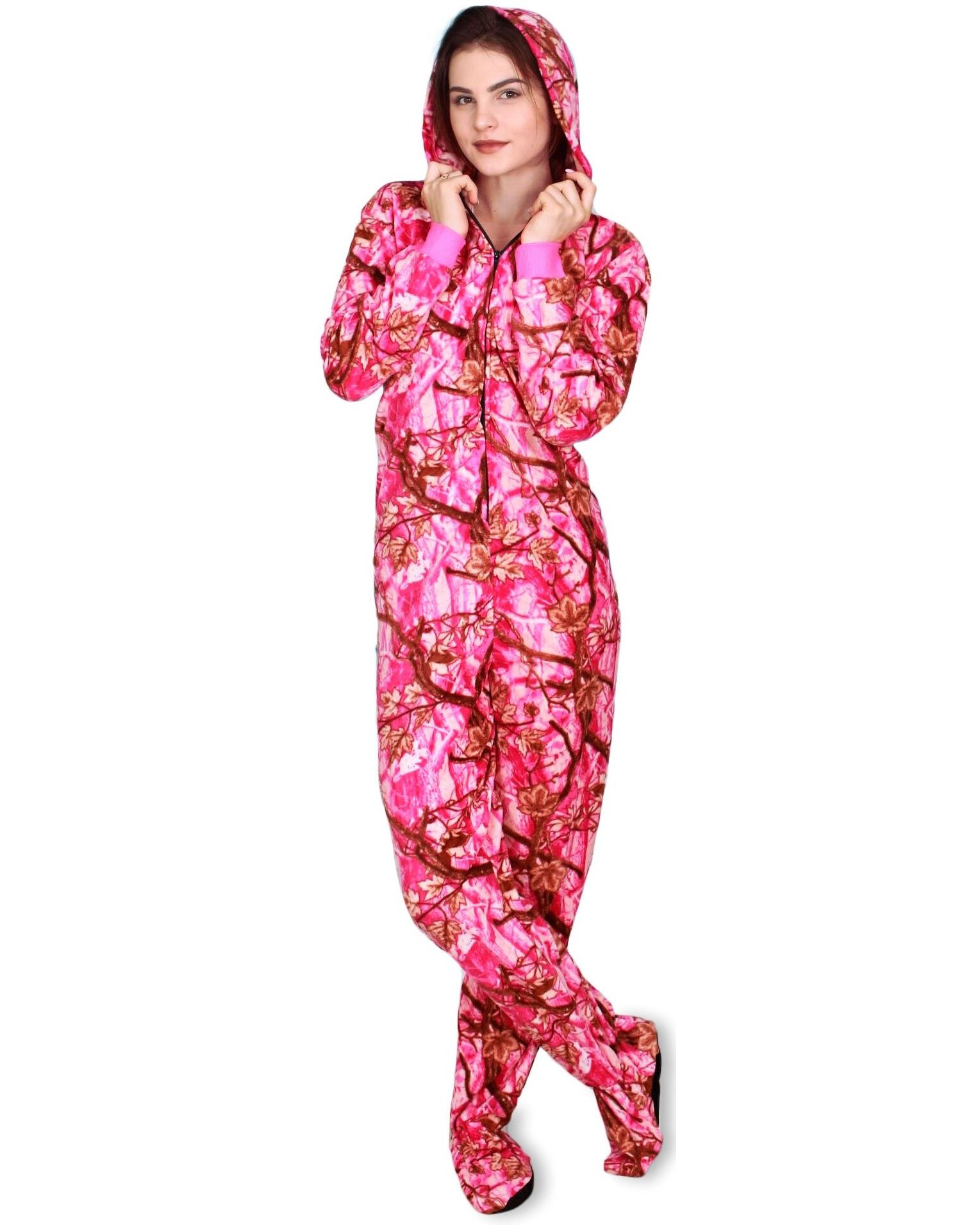 Fun Apparel Womens Fun Prints Footies Footed One Piece Pajamas with Hood, Pink Forest Real, Size: Small