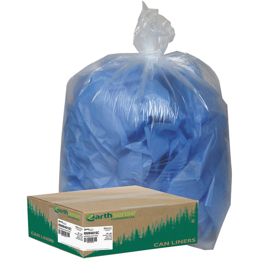 Earthsense Commercial 40-45 Gallon Recycled Can Liners, Clear, 100 count
