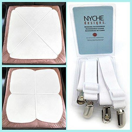 The Nyche Designs Crisscross Adjustable Bed Sheet Straps Suspenders Model W1 (Set of 2, White)