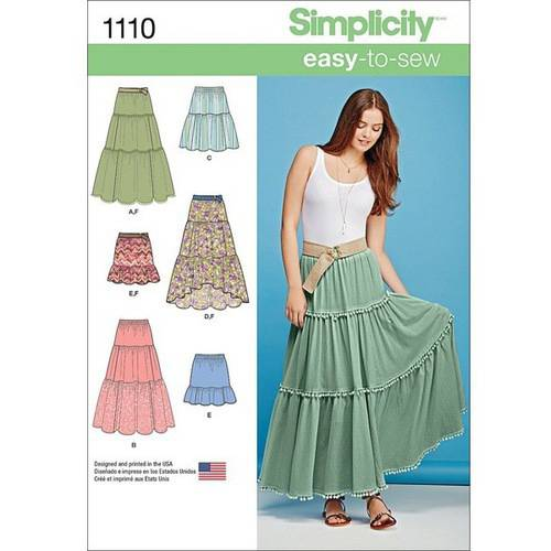 Simplicity Misses' Tiered Skirt with Length Variations, XXS-XS-S-M-L-XL-XXL