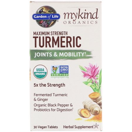 - Garden of Life  MyKind Organics  Maximum Strength Turmeric  Joints   Mobility  30 Vegan Tablets
