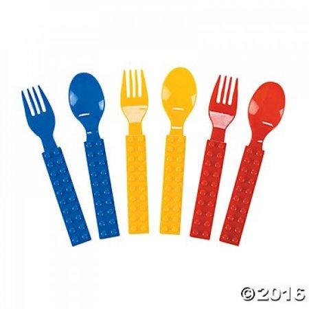 Plastic Color Brick Party Fork & Spoon Set - 16 pcs - Brick And Spoon