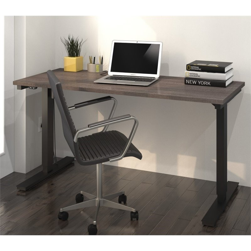 "Bestar 24"" x 60"" Electric Height Adjustable Table in Bark Gray by Bestar"