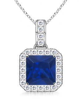 September Birthstone Pendant Necklaces Vintage Square Sapphire and Diamond Pendant Necklace in 950 Platinum (6mm Blue... by Angara.com