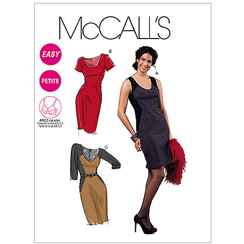 McCall's Pattern Misses' and Miss Petite' Lined Dresses, A5 (6, 8, 10, 12, 14)