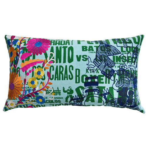 Koko Company Mexico Eagle Print Cotton Lumbar Pillow