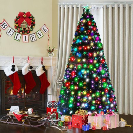 Costway 7Ft Fiber Optic Artificial Christmas Tree w/275 Multi-color LED Lights and - Fiber Optic Toy
