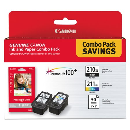 Canon 2973B004 (PGI-210XL/CL-211XL) High-Yield Ink/Paper Combo, Black/Tri-Color -CNM2973B004 ()