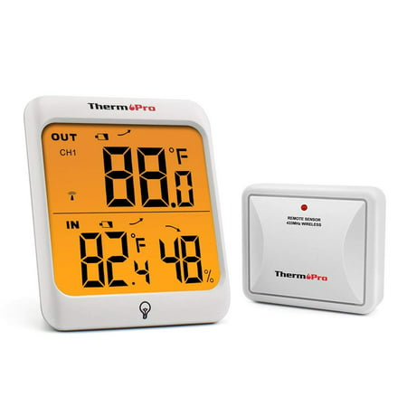 ThermoPro TP63 Wireless Thermometer Indoor Outdoor Digital Thermometer Temperature Humidity Monitor Meter 200ft/60m Range with Waterproof Outside Thermometer ()
