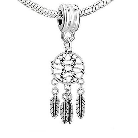 Feather Dream Catcher Dangle Charm European Bead Compatible for Most European Snake Chain Bracelet