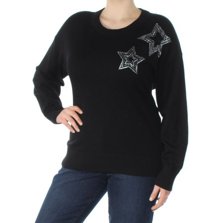 MICHAEL KORS Womens Black Embellished Long Sleeve Jewel Neck Sweater  Size: XXL Cotton Jewel Neck Sweater