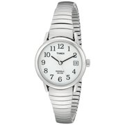 Women's T2H371 Easy Reader Silver-Tone Stainless Steel Expansion Band Watch, Easy-to-Read White Dial with Full Arabic Numerals By Timex