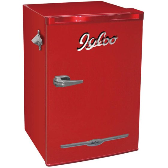 igloo 3 2 cu ft retro bar fridge with side bottle opener multiple colors. Black Bedroom Furniture Sets. Home Design Ideas