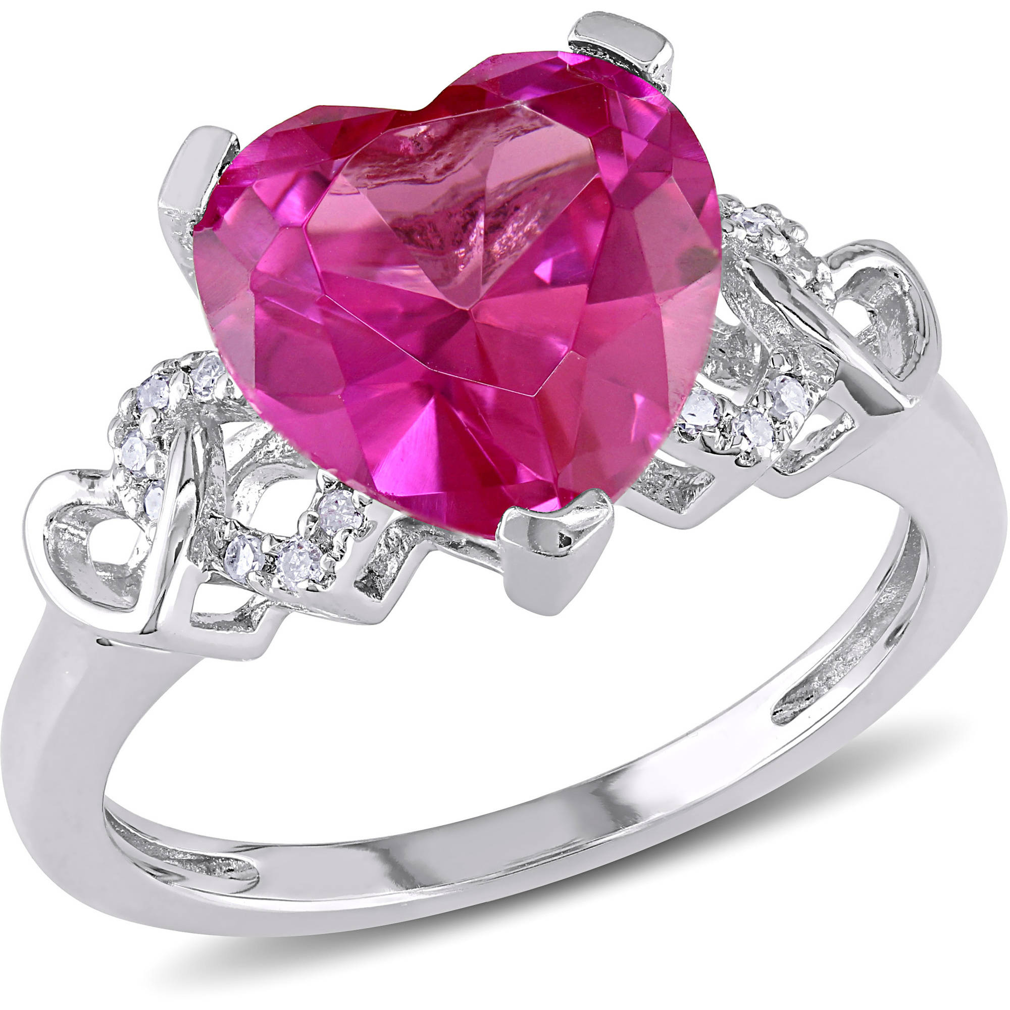4-1 5 Carat T.G.W. Created Pink Sapphire and Diamond-Accent Sterling Silver Heart Ring by Delmar Manufacturing LLC