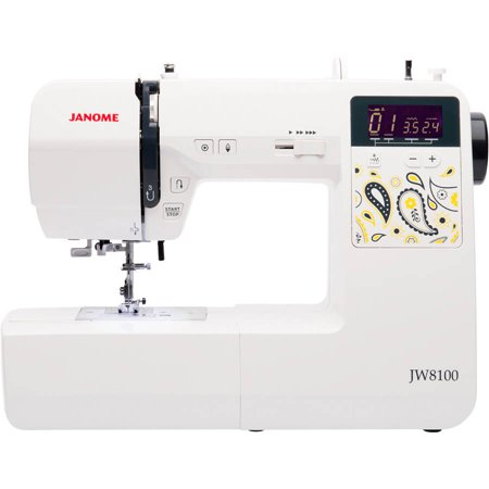 Janome JW8100 Fully-Featured Computerized Sewing Machine with 100 Stitches, 7 Buttonholes, Hard Cover, Extension Table and 22 Accessories (Sewing Cutting Tables)