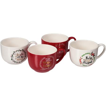 Mainstays Holiday Sayings Latte Mug 4 Pack Only $6.99