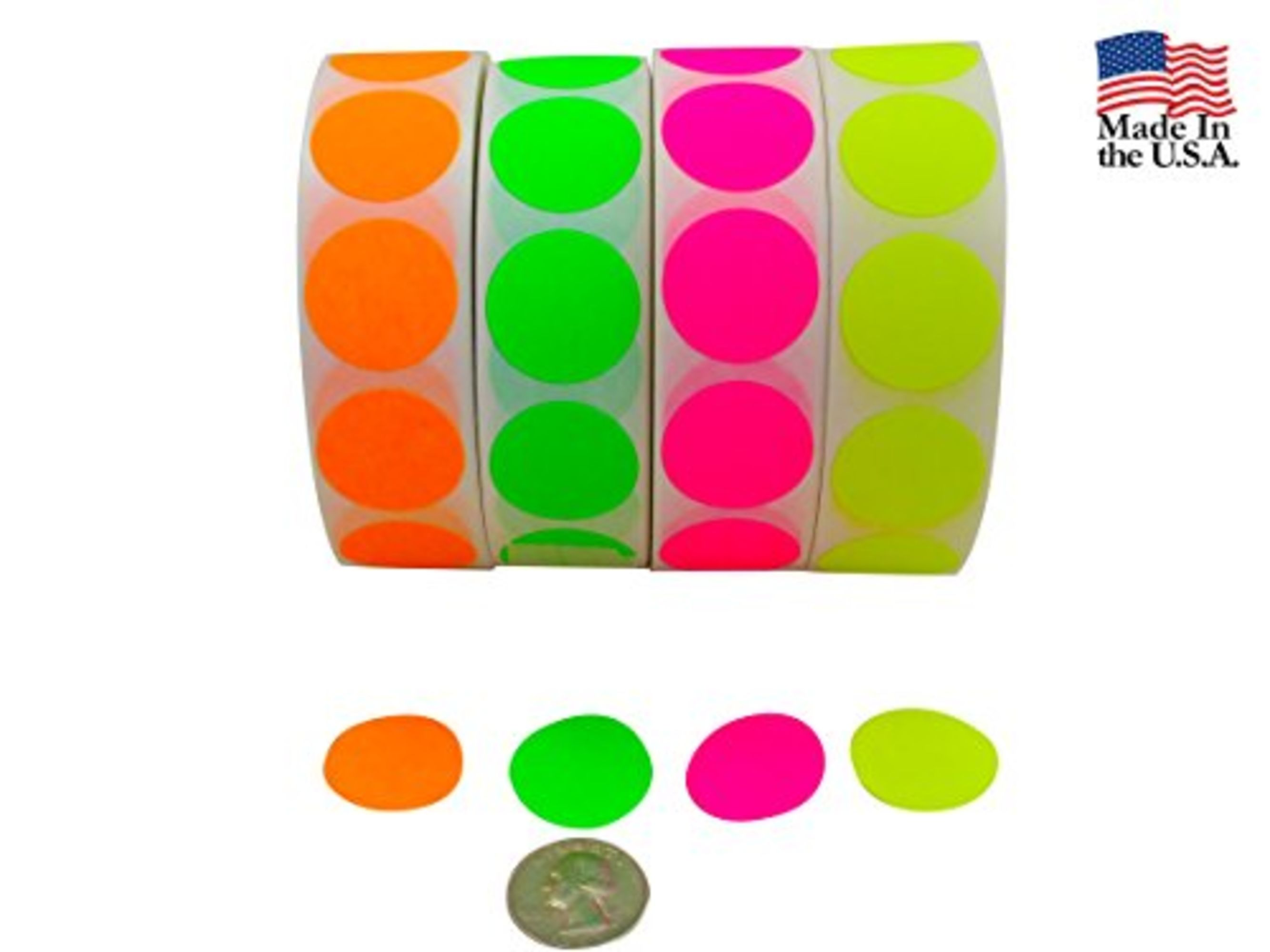 Color coding labels super bright fluorescent neon yellow green orange and pink round circle