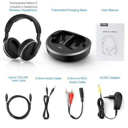 Wireless Headphones for TV Watching,Optical Digital Audio, 2.4G RF Headset with Transmitter Charging Dock, Optical Fiber TV Earphone 100ft Wireless Range